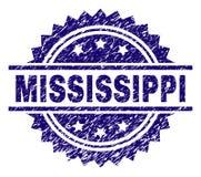 El Grunge texturizó el sello del sello de MISSISSIPPI stock de ilustración
