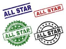 El Grunge texturizó sellos del sello de ALL STAR Imagen de archivo