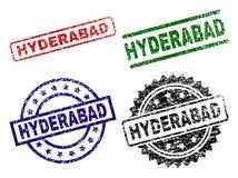 El Grunge texturizó sellos del sello de HYDERABAD stock de ilustración