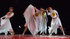 El grupo abierto de la danza del ` s de los niños de la danza Festival-2016 realiza eslavo Fotografía de archivo