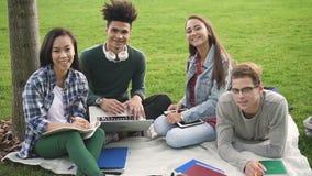 El grupo alegre de relajación de estudiantes está trabajando en nuevo proyecto de la universidad junto almacen de video