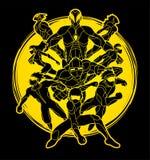 El grupo de acción de los superhéroes, unidad junto combina vector del gráfico del trabajo stock de ilustración