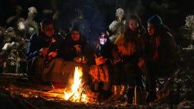 El grupo de amigos en el bosque del invierno que se sentaba cerca de la hoguera envolvió en una manta, escuchando una historia y  almacen de metraje de vídeo