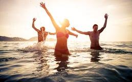 El grupo de amigos que saltan y hace el partido en el agua Foto de archivo