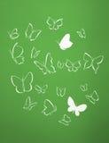 El fondo del blanco siluetea volar de las mariposas Fotos de archivo libres de regalías