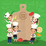 El grupo de cocinero joven con los niños de la tabla de cortar embroma el ejemplo de la historieta