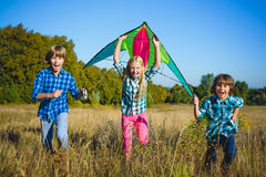 El grupo de feliz y de sonrisa embroma el playingin con la cometa al aire libre Fotos de archivo