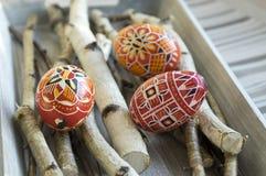 El grupo de huevos de Pascua pintados coloridos en abedul ramifica Imagenes de archivo