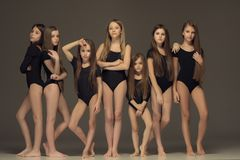 El grupo de muchachas adolescentes que presentan en el estudio blanco Fotografía de archivo