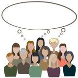 El grupo de mujeres hace que un campo común piense stock de ilustración