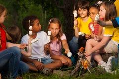 El grupo de niños con los s'mores acerca a la hoguera Imagenes de archivo