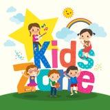 El grupo de niños jovenes con los niños divide el ejemplo de la historieta en zonas de la palabra libre illustration