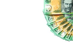 El grupo de 100 notas australianas del dólar sobre el fondo blanco tiene espacio de la copia para el texto puesto Fotografía de archivo