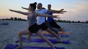 El grupo de personas de la raza mixta que ejercita al guerrero sano de la aptitud de la forma de vida de la yoga presenta metrajes