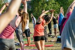 El grupo de personas hace yoga en naturaleza imagen de archivo