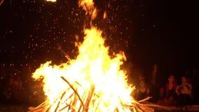 El grupo de personas mira el fuego grande holiday almacen de metraje de vídeo