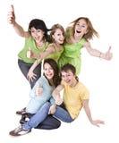 El grupo de personas que lanza hacia fuera manosea estupendo con los dedos. Imagen de archivo libre de regalías