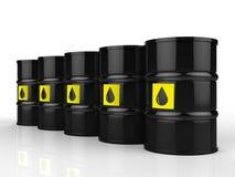 El grupo de petróleo crudo barrels con la etiqueta amarilla Stock de ilustración