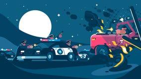 El grupo de policías detiene al criminal libre illustration
