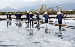 El grupo de saltworker lleva la sal en la salina. VAGOS RIA,  Imagen de archivo