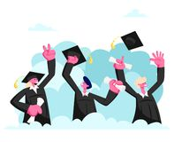El grupo de var?n y los caracteres femeninos en vestidos y casquillos de la graduaci?n disfrutan, saltando y animando encima de f ilustración del vector