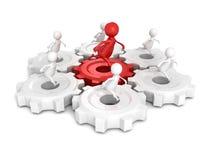 El grupo del equipo con funcionamiento rojo del hombre del líder 3d en trabajo conectado adapta libre illustration