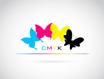 El grupo del vector de mariposa coloreó la impresión del cmyk Fotografía de archivo