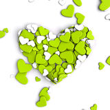 El grupo dispersó corazones en un fondo blanco Fondo del día del ` s de la tarjeta del día de San Valentín Imagenes de archivo