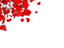 El grupo dispersó corazones en un fondo blanco Fondo del día del ` s de la tarjeta del día de San Valentín Foto de archivo libre de regalías