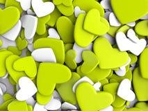 El grupo dispersó corazones en un fondo blanco Fondo del día del ` s de la tarjeta del día de San Valentín Fotografía de archivo libre de regalías
