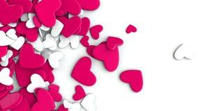El grupo dispersó corazones en un fondo blanco Fondo del día del ` s de la tarjeta del día de San Valentín Fotografía de archivo