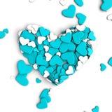 El grupo dispersó corazones en un fondo blanco Fondo del día del ` s de la tarjeta del día de San Valentín Imágenes de archivo libres de regalías