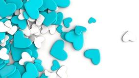 El grupo dispersó corazones en un fondo blanco Fondo del día del ` s de la tarjeta del día de San Valentín Imagen de archivo libre de regalías