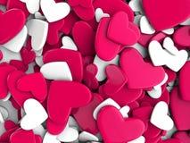 El grupo dispersó corazones en un fondo blanco Fondo del día del ` s de la tarjeta del día de San Valentín Fotos de archivo libres de regalías