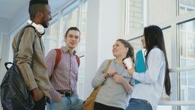el grupo Multi-étnico de estudiantes se está colocando en pasillo ancho cerca de ventana en universidad que comunican positivamen almacen de video