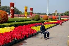 El guardia de seguridad chino se sienta delante de la exhibición Pekín China de la flor Imagen de archivo