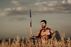 El guerrero atlético tiene gusto espartano entre hierba en campo Fotos de archivo