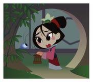 El guerrero de la muchacha, chino, historia antigua, Mulan, historieta stock de ilustración