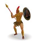 El guerrero espartano enojado con la armadura y el escudo del hoplita gritó y Imagen de archivo libre de regalías