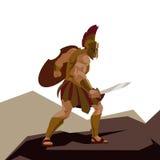El guerrero espartano enojado con la armadura y el hoplita blindan llevar a cabo un interruptor Imagenes de archivo