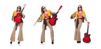 El guitarrista alto aislado en blanco Fotografía de archivo libre de regalías