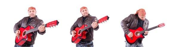 El guitarrista en blanco foto de archivo libre de regalías