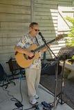 El guitarrista en explora el parque Imagen de archivo libre de regalías