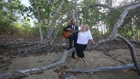 El guitarrista juega para la muchacha rubia que se sienta en rama en los árboles almacen de metraje de vídeo