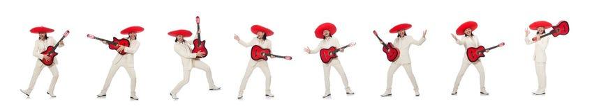 El guitarrista mexicano aislado en blanco foto de archivo libre de regalías