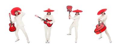 El guitarrista mexicano aislado en blanco fotos de archivo