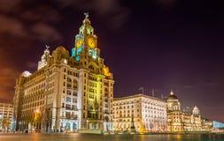 El hígado real, el Cunard y el puerto de Liverpool Foto de archivo libre de regalías