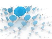 Burbujas que hablan azules o globos de la red social Foto de archivo libre de regalías