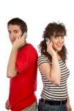 El hablar con el teléfono Imagen de archivo libre de regalías