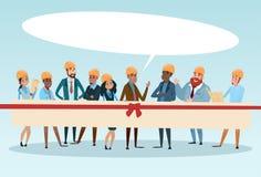 El hablar de la burbuja de la comunicación de la charla de Team Architect Mix Race Workers del constructor ilustración del vector